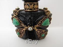 Antique Czech Cut Glass Black Butterfly Perfume Bottle Gold jeweled filigree