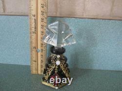 Antique Czechoslovakia / Czech jeweled black glass perfume bottle