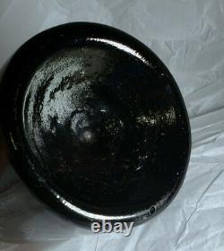 Antique Deep Pontil, Black Glass (green) Bottle 10'' Hand blown #36