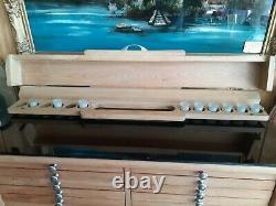 Antique Dental Cabinet Black Glass Top Lift Open Top withBottle Holder 48 x 40
