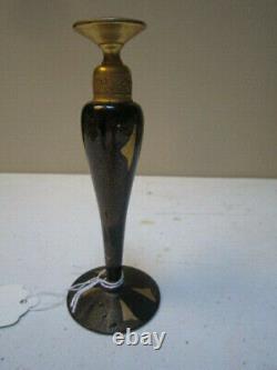 Antique Devilbiss Dropper Black & Gold Glass Perfume Bottle Signed