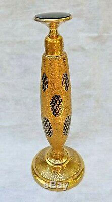 Antique Devilbiss Gilded Black Glass Perfume Bottle Intact Dauber