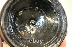 Antique Early Pontil Black Glass Mallet Whiskey Bottle 9'