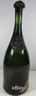 Antique England c. 1800's Black Glass Bottle Wine Shape Wax Seal B2
