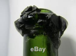 Antique England c. 1900's Black Glass Bottle Wine Shape Wax Seal H1-22