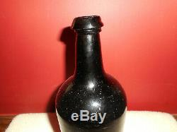 Antique Free Blown Black Glass Spirits Bottle Iron Pontil Out of Round 1850-1880