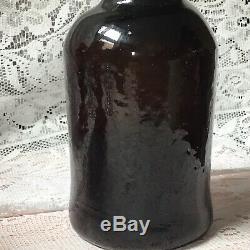 Antique George 3rd Black Glass Ale Tavern Bottle Free Blown Pontil Dimple Bottom