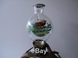 Antique German Black Forest Antler Deer Tray Bottle&glasses Handpainted 1930