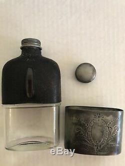 Antique Glass Hip Flask withEngraved Pewter Drinking Cup & Black Leather
