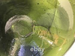 Antique Green Onion Black Glass Bottle 1700's Unique Example Bubbles, Swirles