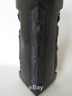 Antique Lalique Perfume Bottle, Elegant Black Glass, Lady Figural Ambre D'Orsay
