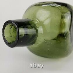 Antique Olive Green Black Case Gin Glass Applied Lip Bottle 10in BEAUTIFUL