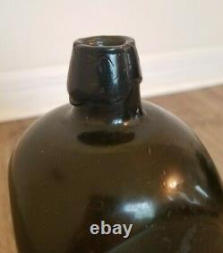 Antique Olive Green/Black Glass J. J. Melchers Cosmopoliet Case Gin Bottle