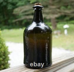 Antique Pontiled Black Glass Mallet Whiskey Spirits Bottle Crude Blown