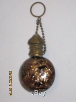 Antique VENETIAN GLASS Perfume Bottle BLACK and GOLD AVENTURINE color