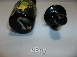 Antique Victorian BOHEMIAN Czech Glass Perfume Bottle BLACK Gold Gilt HP