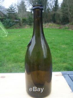 Antique black glass burgundy wine bottle seal LITRE early 19th 95cl! Sand pontil