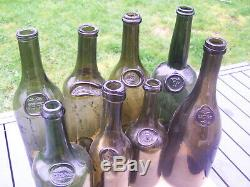 Antique black glass wine bottle upside down seal'CB' monogram Cheval Blanc