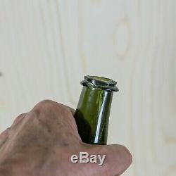 Antique c1730-50 English free blown MALLET Black Glass wine bottle