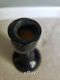 Antique circa 1820s Freeblown Pontil Black Glass Long Neck Bottle