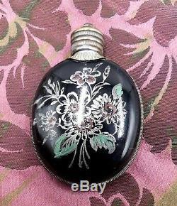 Antique silver tone black enamel perfume bottle