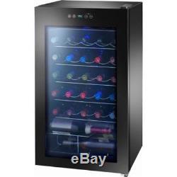 Arctic Premium 34-Bottles Wine Cooler Touch Control Glass Door LED Light Black