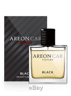 Areon Car Perfume 3.38 Fl Oz. (100ml) Glass Bottle Cologne Air Freshener, Black
