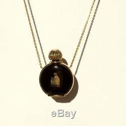 Arpege Lanvin Black Glass Miniature Perfume Bottle Pendant Long Chain