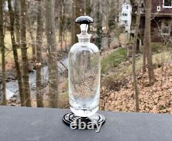 Art Deco Bohemian Black and Clear Glass Decanter Whiskey Bottle