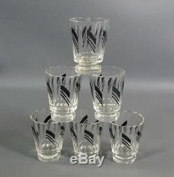 Art Deco Bohemian Czech Glass Black Enamel Decanter Bottle Cup Set Karl Palda