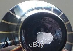 Art Deco Perfume Bottle Set Powder Jar Amethyst Black Glass Gold Bohemian Czech