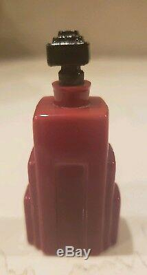 Art Deco Tryst Pillon Perfume Bottle 1930 Red Black Art Glass Rare 1oz Version