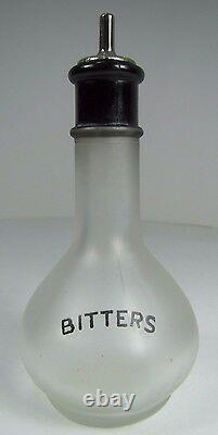 BITTERS Old Frosted Glass Bottle Black Detail Bar Pub Tavern Liquor Ad