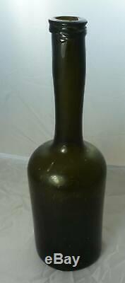 BLACK GLASS PORTER BOTTLE-Free Blown-Long Neck-Round Pontil-String Lip-1800-1820