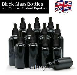 BLACK Glass Dropper Bottles with Pipette Eye Drop Oils Aromatherapy Wholesale