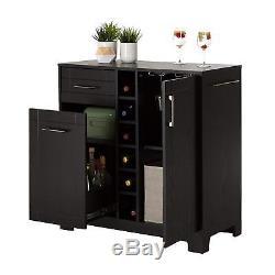Bar Cabinet Wine Rack Liquor Bottles Glass Storage Organizer Dining Room Elegant