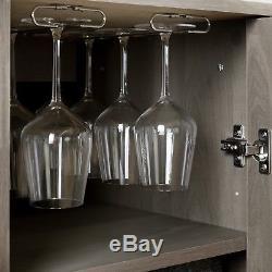 Bar Cabinet with Bottle and Glass Storage Shelves Liquor Wine Rack Black Oak