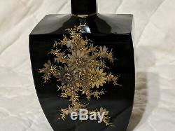 Beautiful Black Glass Cologne / Scent Bottle Fench Or Czech Moser