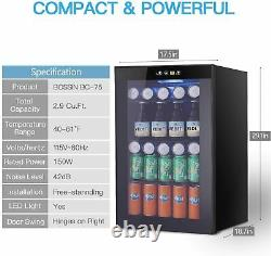 Beverage Refrigerator and Cooler 85 Can or 60 Bottles Capacity With Glass Door