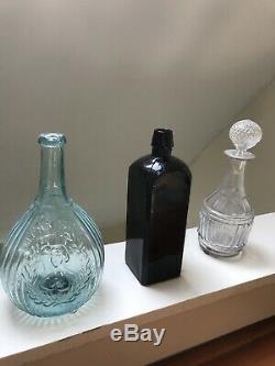 Bitters Bottle Dr Hostettor's Unembossed Civil War Black Glass Unembossed 1860s