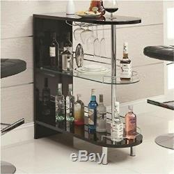 Black Bar Table Wine Bottle Stand Glass Holder Shelf Rack Storage Living Room