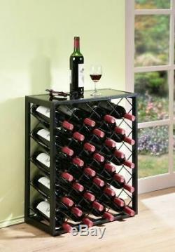 Black Finish Metal Wine Rack Glass Table Top Display Storage Holds 32 Bottles