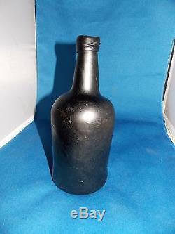 Black Glass Botle Open Pontil Liquor Bottle