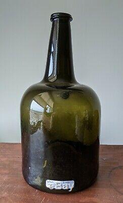 Black Glass Bottle Mallet Demijohn Form Antique late 1700s