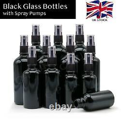 Black Glass Bottles with Black Mist Spray Pump Atomiser Aromatherapy Oils Liquid
