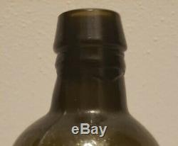 Black Glass Utility Bottle- antique circa 1830 with Drippy lip
