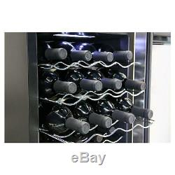 Black Thermoelectric Wine Cooler With Mirror Door 16 in. 20-Bottle Tinted Glass