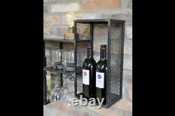 Black Wall Mounted Wine Rack Cellar Bottle Cage Glass Holder Bar Accessory Shelf