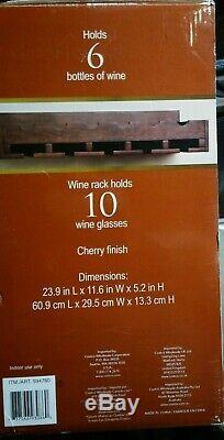 Black Wine Holder Wall Shelf Holds10 Glass 6 Bottle Kitchen Bar Pub Storage Rack