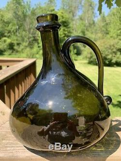 Blown Glass Onion Bottle WithHandle Antique Vintage Farm Style Black Green Glass